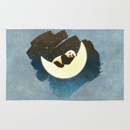 Sleeping Panda on the Moon Rug