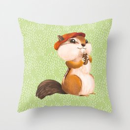 Dapper Chipmunk Wearing Newsboy Hat Throw Pillow