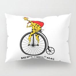 Giraffe on a bike Santa Claus Pillow Sham