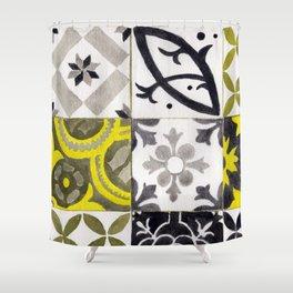 JD_tiled floor1–gouache Shower Curtain