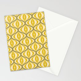 Retro Mid-Century Saucer Pattern in Yellow, Gray, Cream Stationery Cards