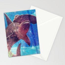 Hammerhead Shark In The Deep Blue Ocean Painting Stationery Cards