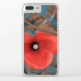 Poppies blue glow Clear iPhone Case