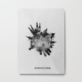 Barcelona, Spain Black and White Skyround / Skyline Watercolor Painting Metal Print