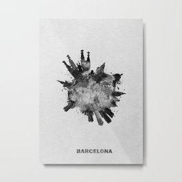 Barcelona, Spain Black and White Skyround / Skyline Watercolor Painting Metal Print