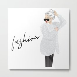 Girl in fluffy fur Metal Print