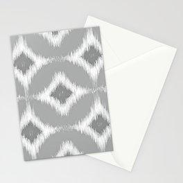 Elegant White Gray Retro Circles Squares Ikat Pattern Stationery Cards