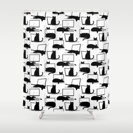Cats Sitting on Laptops Shower Curtain