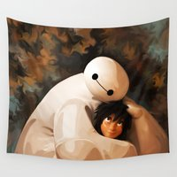 baymax Wall Tapestries featuring Baymax Love by Kesen