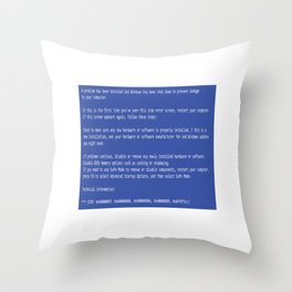 This is a perfect gift for computer users who hates Blue Screen of Death, Classic BSOD Error T-Shirt Throw Pillow