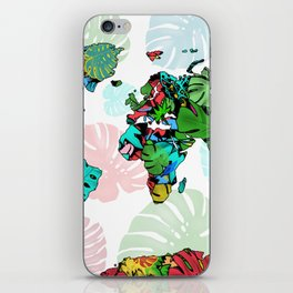 world map tropical leaves 2 iPhone Skin