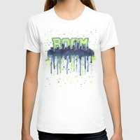 seahawks T-shirts featuring Seattle 12th Man Seahawks Painting Legion of Boom Art by Olechka