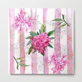Pink Oleander Watercolor Metal Print