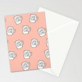 Coffee Please Coffee Mug Pattern Stationery Cards