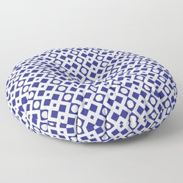 Geometric Pattern - Diamonds and Dots - Navy Blue & White Floor Pillow