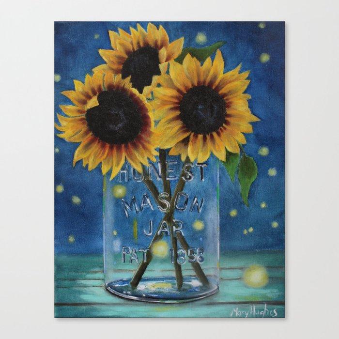 Lightning Bugs and Sunflowers Leinwanddruck