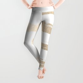 Simply Brushed Stripe White Gold Sands on White Leggings