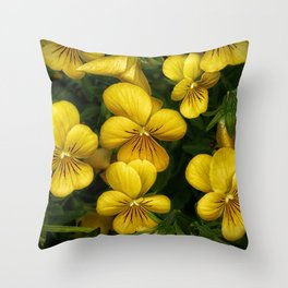 Macro photo golden flowers Throw Pillow