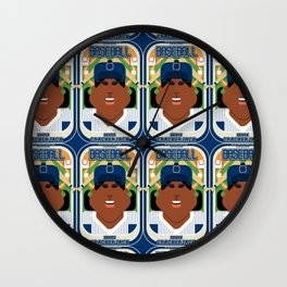 Baseball Blue Pinstripes - Deuce Crackerjack - Aretha version Wall Clock