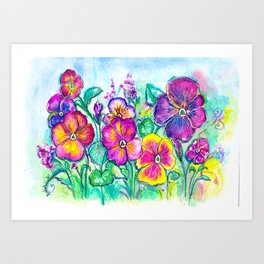 Pansies From My Grandfather's Garden Art Print