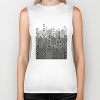 plaid Biker Tanks featuring Plaid City by LindaWexlerArt