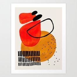 Mid Century Modern Abstract Colorful Art Yellow Ball Orange Shapes Orbit Black Pattern Art Print