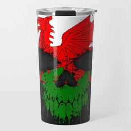 Flag of Wales on a Chaotic Splatter Skull Travel Mug