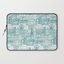 Edinburgh toile teal white Laptop Sleeve