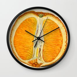 Vintage Sliced Orange Illustration Wall Clock