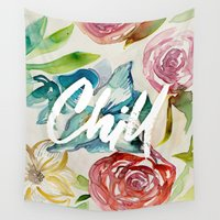 chill Wall Tapestries featuring Chill by WatercolorDevo