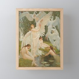 Swans and the Maidens angelic garden landscape painting by Walter Crane  Framed Mini Art Print