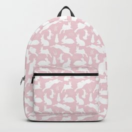 Rabbit Pattern | Rabbit Silhouettes | Bunny Rabbits | Bunnies | Hares | Pink and White | Backpack