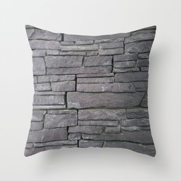 Abstract rustic dark gray shale stone wall Throw Pillow