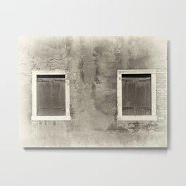 sepia vintage shuttered windows Metal Print