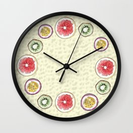 Round Fruits painting: kiwi, passionfruit, grapefruit Wall Clock