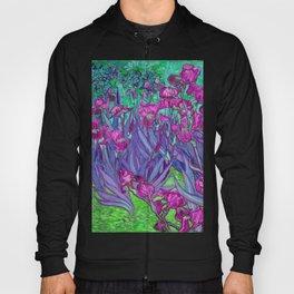 Vincent Van Gogh Irises Painting Violet Fuchsia Palette Hoody