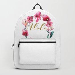 Gold Aloha Floral Wreath Backpack