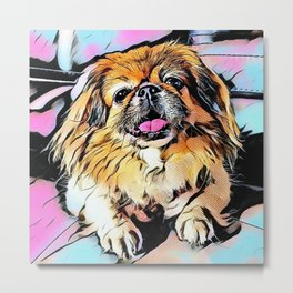 Pekingese Cartoonized Metal Print