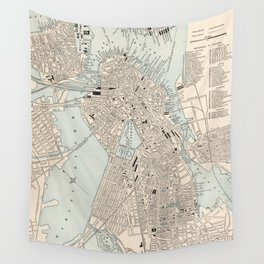 Vintage Map of Boston MA (1893) Wall Tapestry