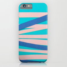 Pink & Blue Stripes on Turquois iPhone 6s Slim Case