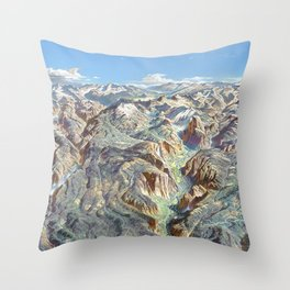 Sky Panorama Map of Yosemite National Park Throw Pillow