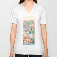 greece V-neck T-shirts featuring symi island greece by Selgun Turkoz