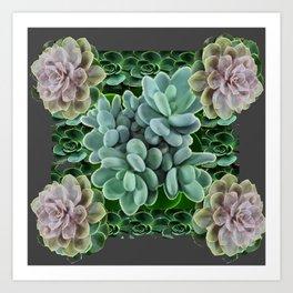 GARDEN OF GRAY-GREEN PINK SUCCULENTS Art Print