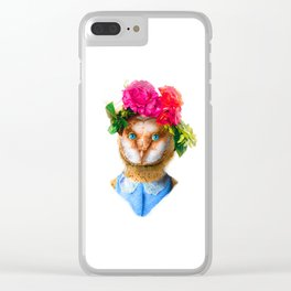 Lady Owl with Head Flowers Bouquet Clear iPhone Case