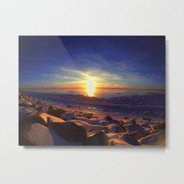 Alaska Sunset with blue skies.  Metal Print