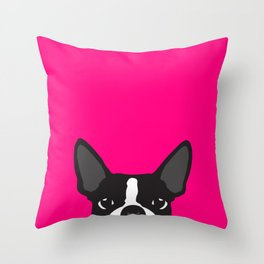Boston Terrier Hot Pink Throw Pillow