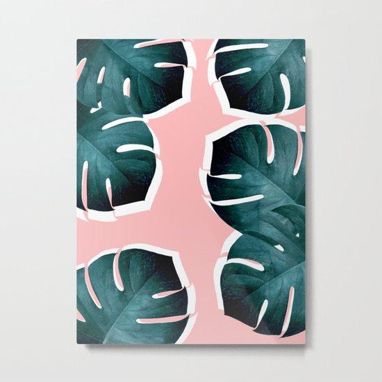 Monstera Leaves on Pink Metal Print