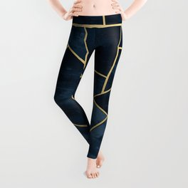 Dark Midnight Navy Blue Gold Geometric Glam #1 #geo #decor #art Leggings