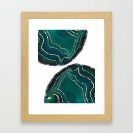 Green Blue Agate Gold Glitter Glam #1 #gem #decor #art #society6 Framed Art Print