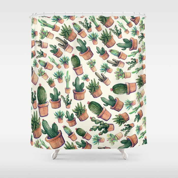 Wave Cactus Shower Curtain